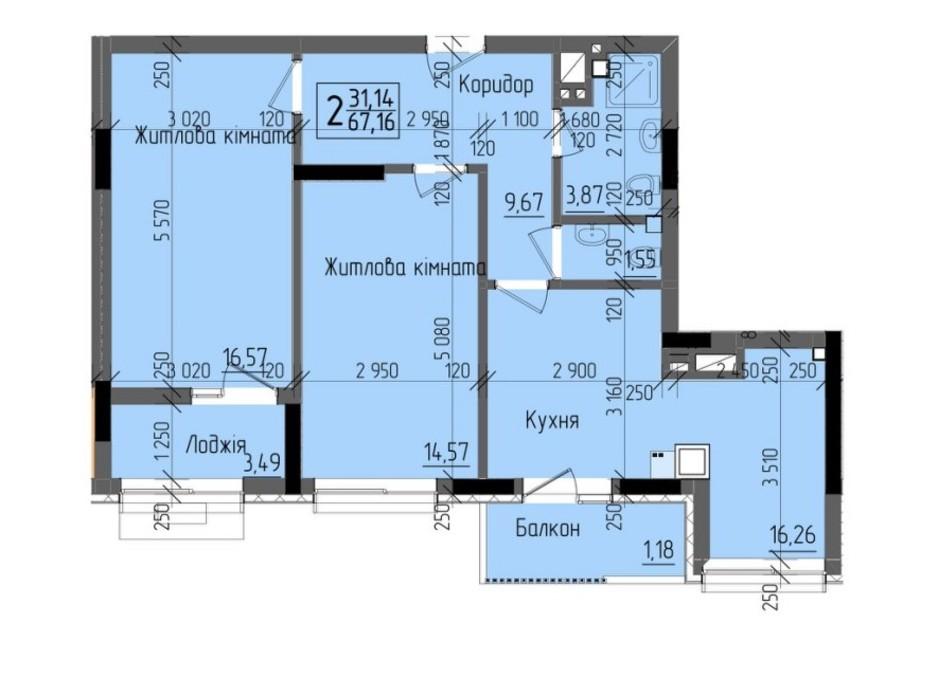 Планировка 2-комнатной квартиры в ЖК KromaxBud 67.16 м², фото 254146