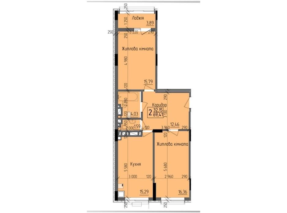 Планировка 2-комнатной квартиры в ЖК KromaxBud 69.41 м², фото 254147