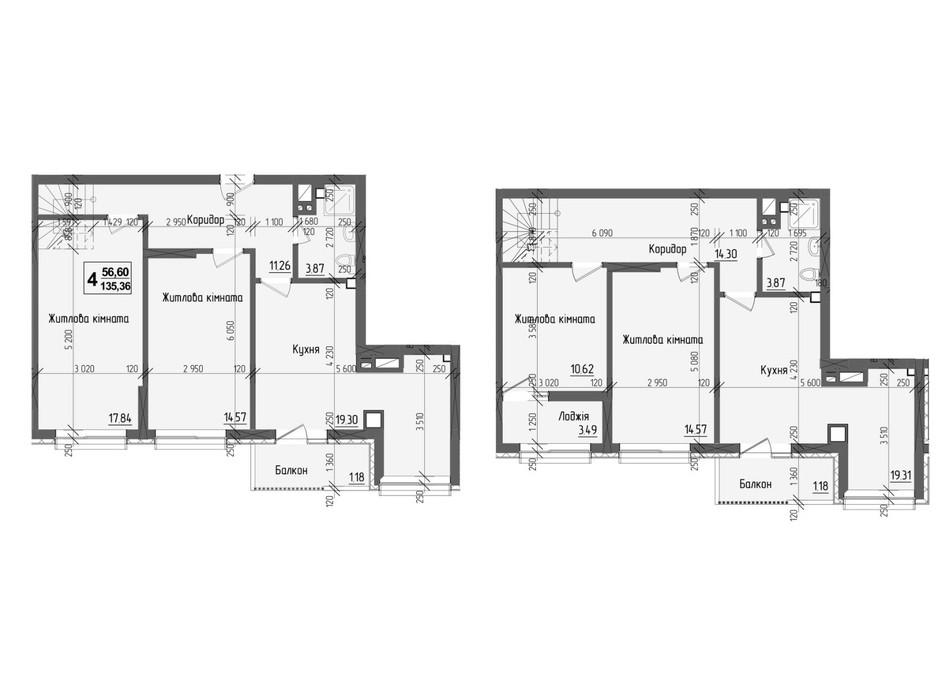 Планировка многоуровневой квартиры в ЖК KromaxBud 135.36 м², фото 254185
