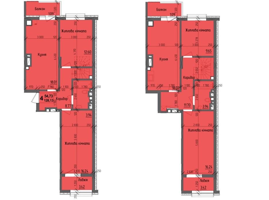 Планировка многоуровневой квартиры в ЖК KromaxBud 128.13 м², фото 254187