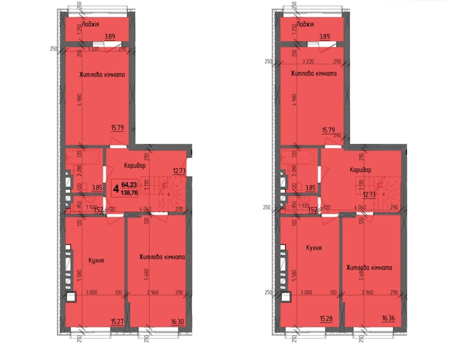 Планировка многоуровневой квартиры в ЖК KromaxBud 138.76 м², фото 254194