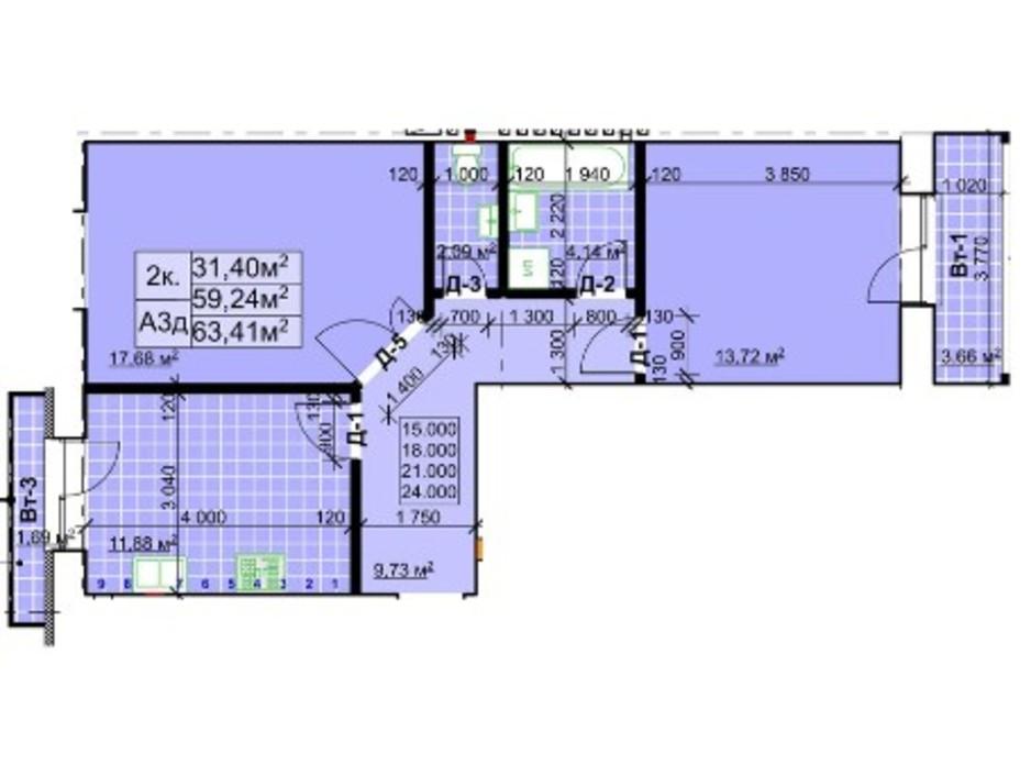 Планування 2-кімнатної квартири в ЖК Столичний 63.41 м², фото 254222