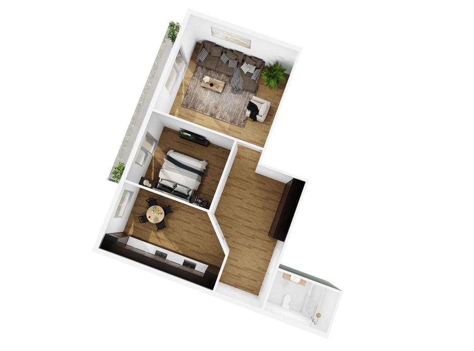 Планировка 2-комнатной квартиры в ЖК Сhurchill House 68.8 м², фото 254414