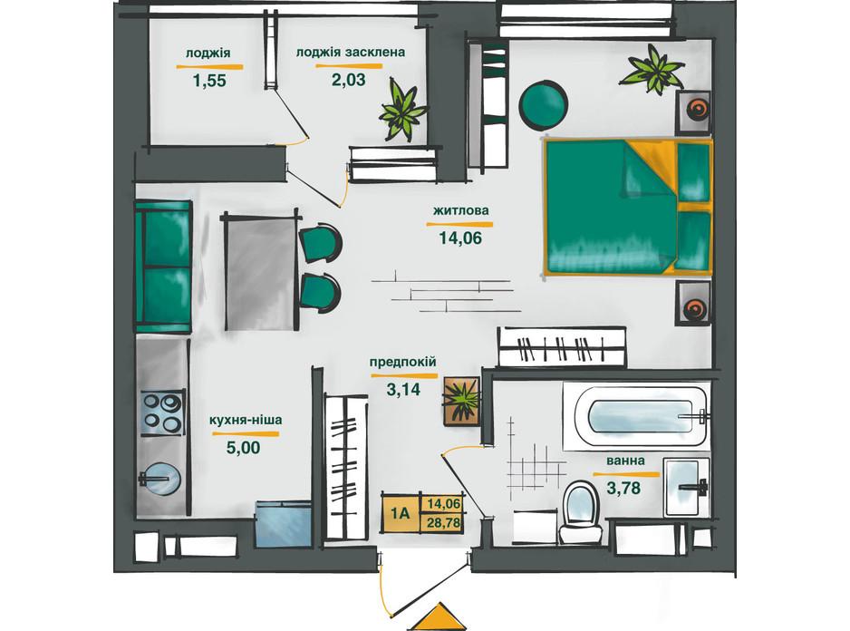 Планировка 1-комнатной квартиры в ЖК Сырецкие Сады 28.78 м², фото 254573
