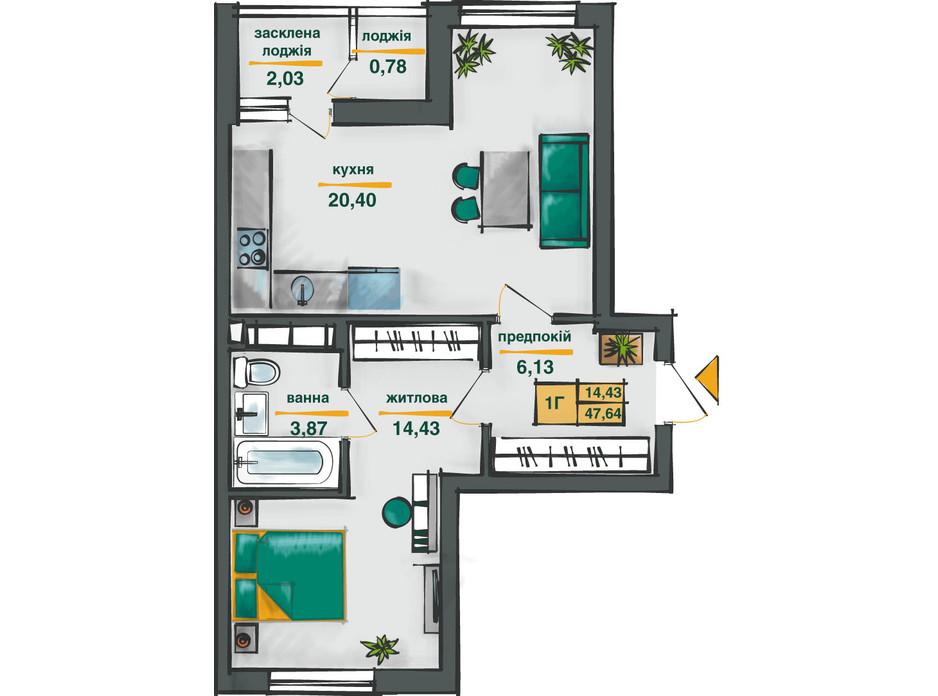 Планировка 1-комнатной квартиры в ЖК Сырецкие Сады 47.64 м², фото 254574