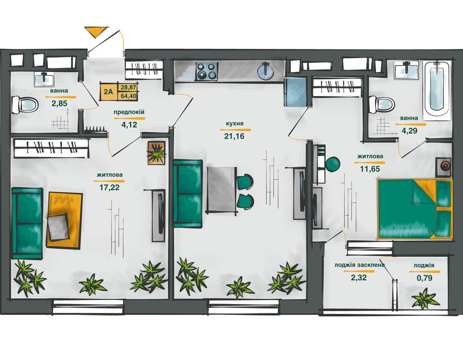 Планировка 2-комнатной квартиры в ЖК Сырецкие Сады 64.4 м², фото 254575