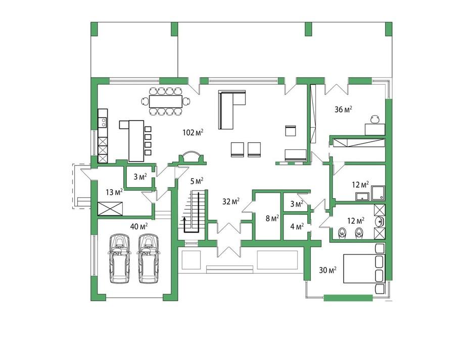Планировка коттеджа в КГ Белгравия 485 м², фото 254651