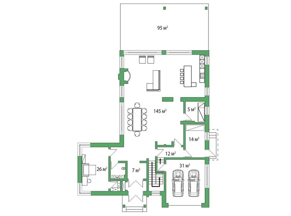 Планировка коттеджа в КГ Белгравия 445 м², фото 254653