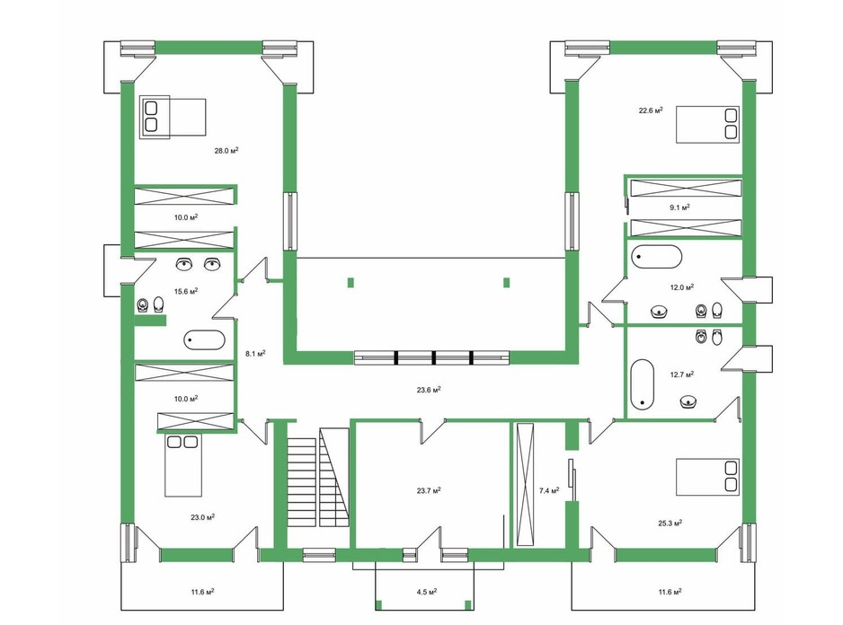 Планировка коттеджа в КГ Белгравия 509 м², фото 254655