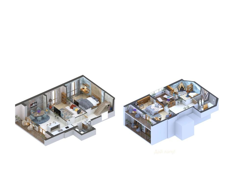 Планування багаторівневої квартири в ЖК Гостомель Residence 123.96 м², фото 254770