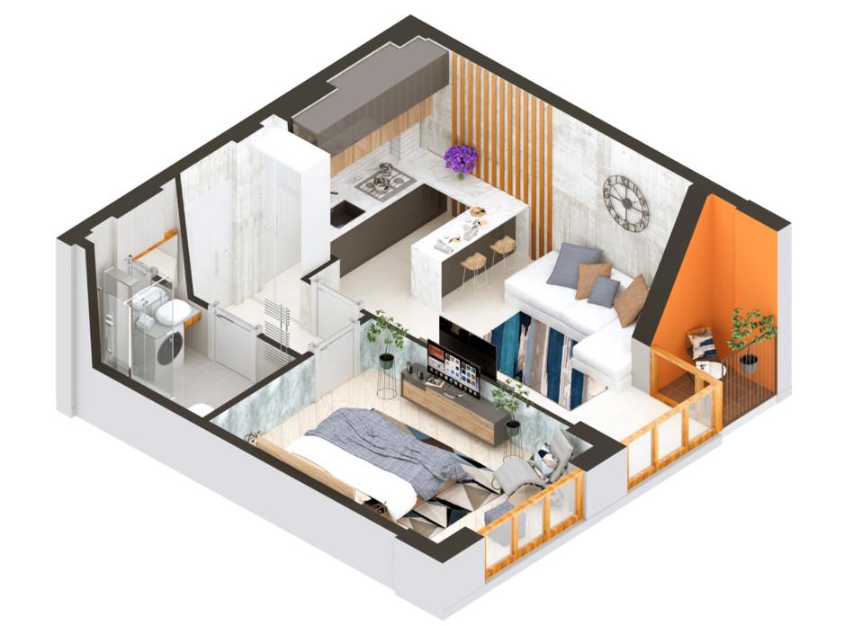 Планування 1-кімнатної квартири в ЖК Гостомель Residence 39.04 м², фото 254771