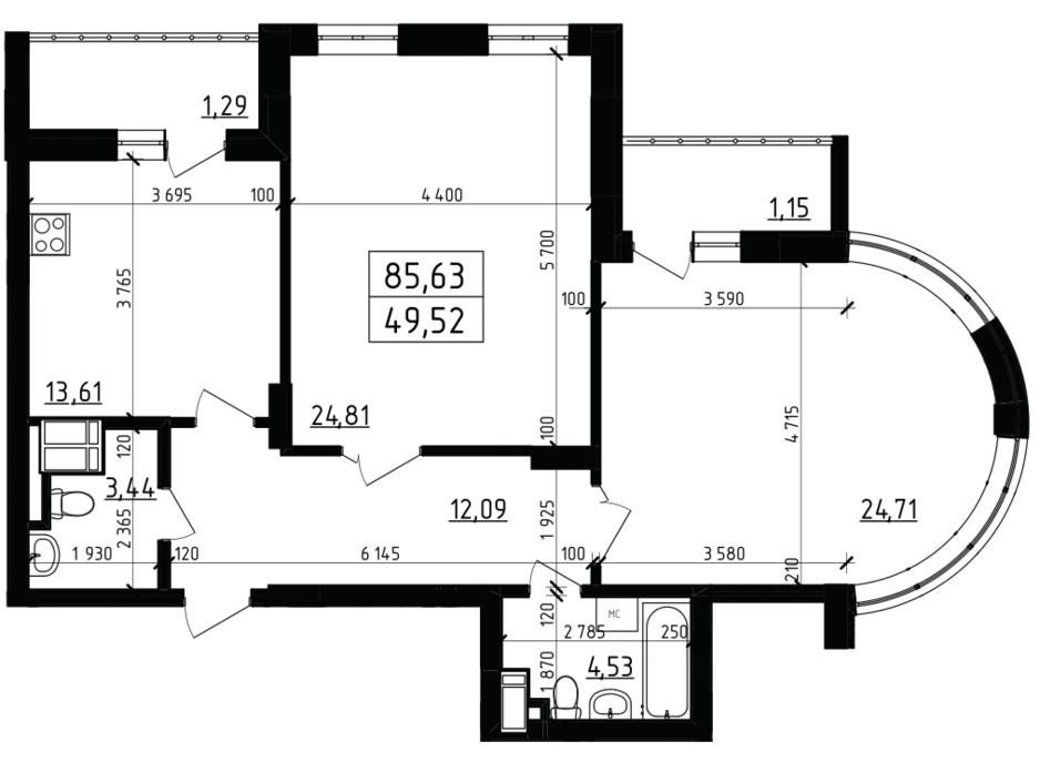 Планировка 2-комнатной квартиры в ЖК Вернисаж 85.63 м², фото 255939
