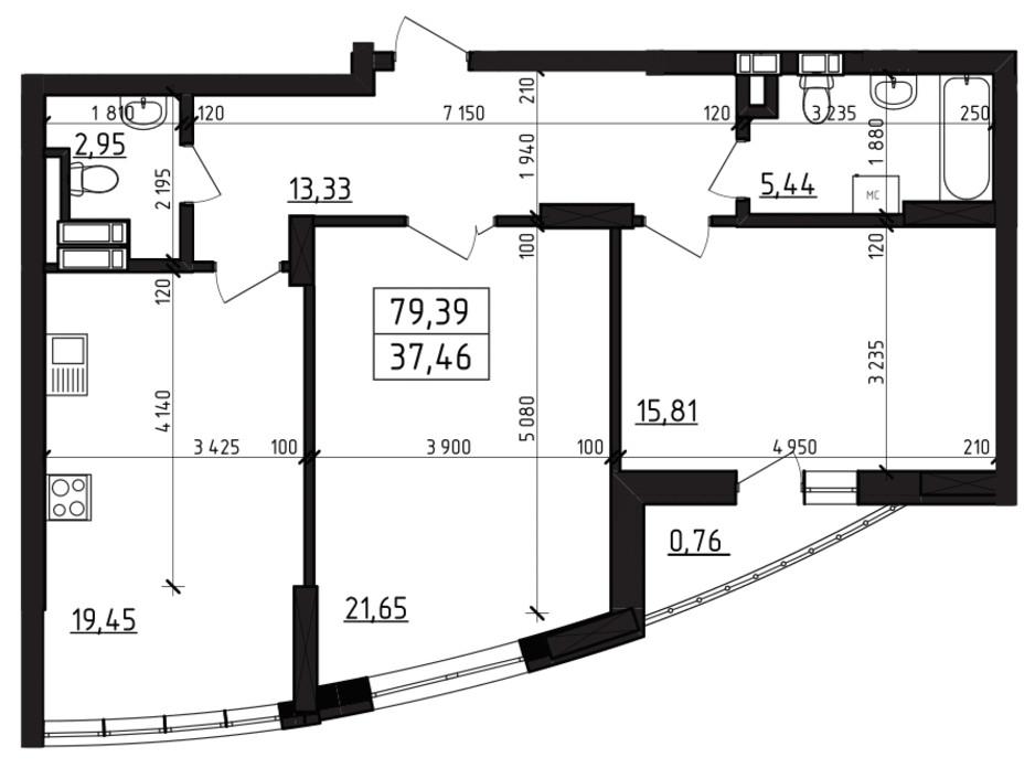 Планировка 2-комнатной квартиры в ЖК Вернисаж 79.39 м², фото 255942