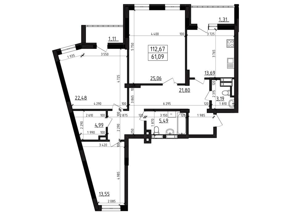 Планировка 3-комнатной квартиры в ЖК Вернисаж 112.67 м², фото 255945