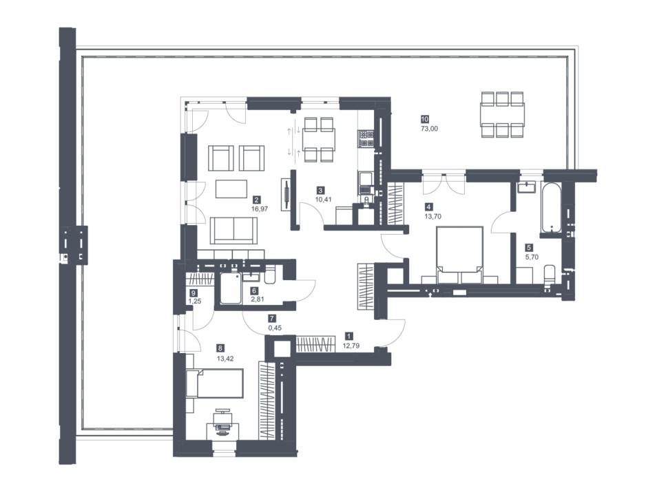 Планировка 2-комнатной квартиры в ЖК Малоголосківські пагорби 101.4 м², фото 256004