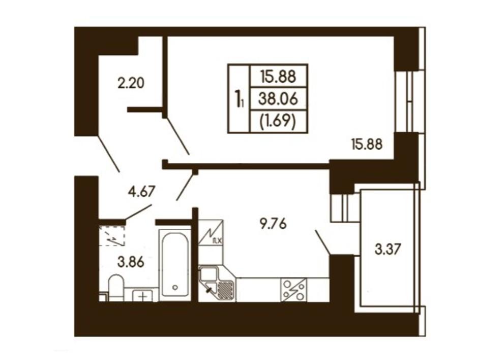 Планировка 1-комнатной квартиры в ЖК Чайка 38.06 м², фото 256190