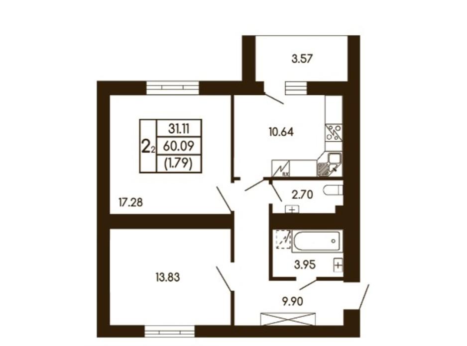 Планування 2-кімнатної квартири в ЖК Чайка 60.09 м², фото 256210