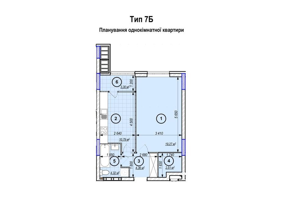 Планування 1-кімнатної квартири в ЖК Park Plaza 44.55 м², фото 256650