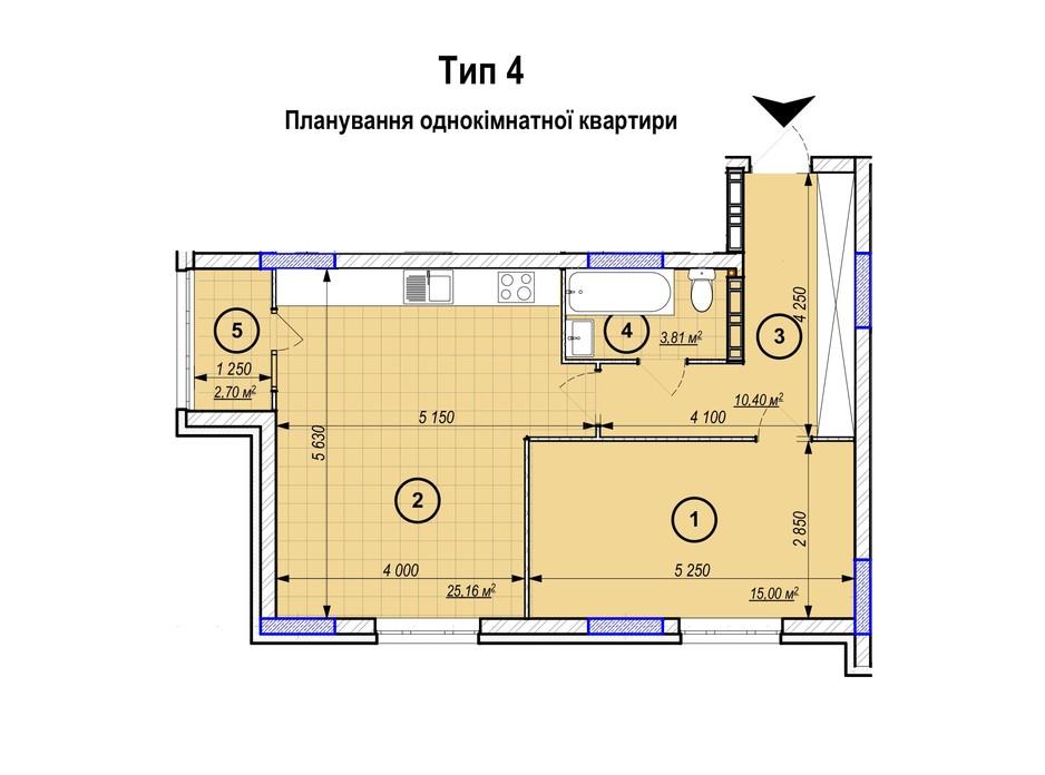 Планування 1-кімнатної квартири в ЖК Park Plaza 57.07 м², фото 256651