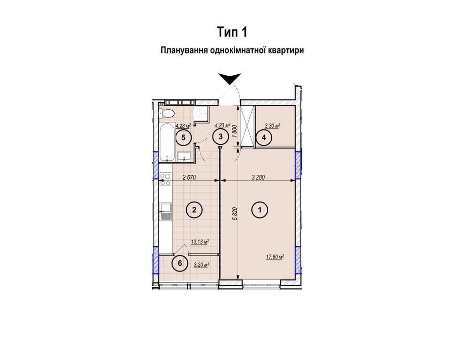 Планування 1-кімнатної квартири в ЖК Park Plaza 45.94 м², фото 256653