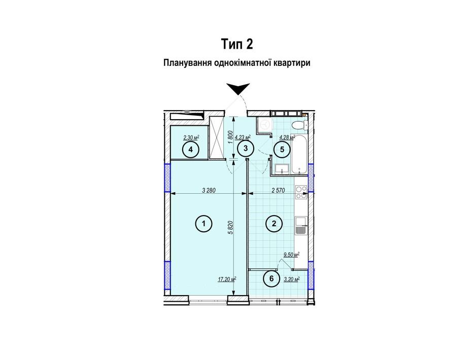 Планування 1-кімнатної квартири в ЖК Park Plaza 40.71 м², фото 256657