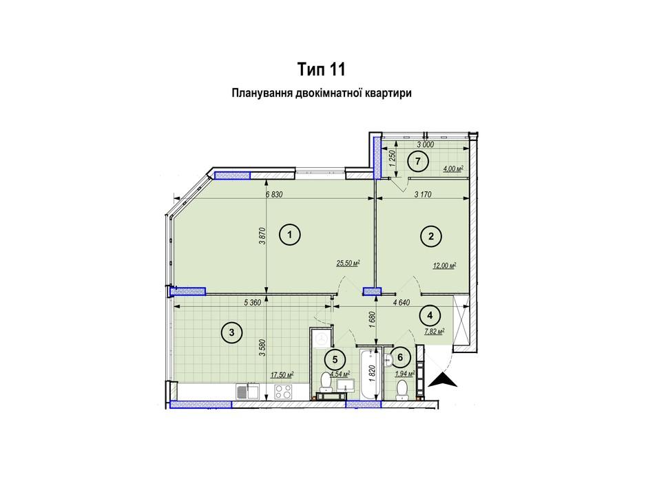 Планування 2-кімнатної квартири в ЖК Park Plaza 59.4 м², фото 256662