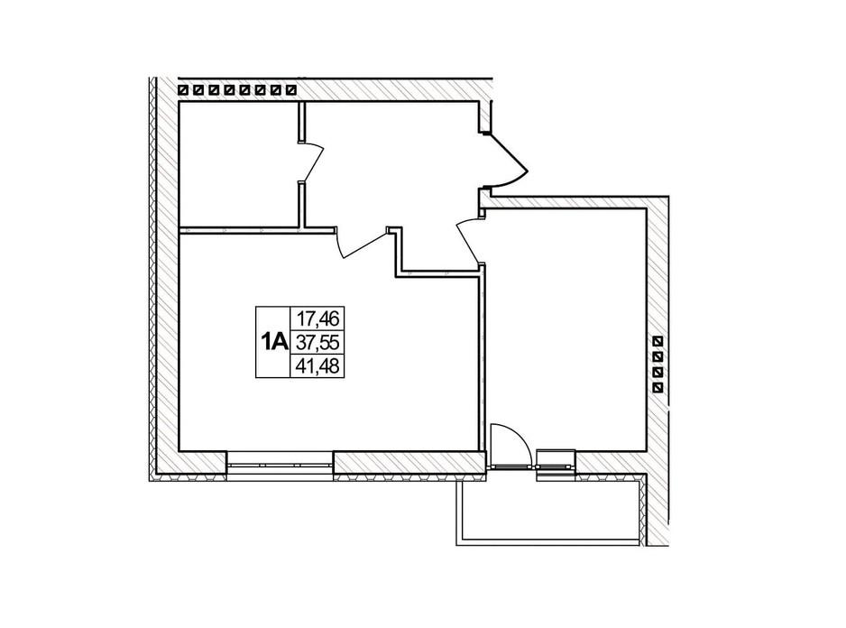 Планировка 1-комнатной квартиры в ЖК Озерний 41.48 м², фото 257398