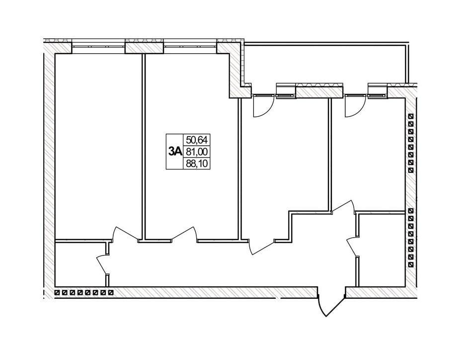 Планування 3-кімнатної квартири в ЖК Озерний 88.1 м², фото 257405
