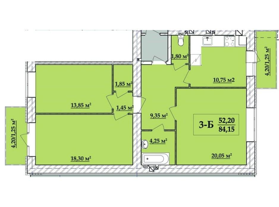 Планировка 3-комнатной квартиры в ЖК Академ городок 84.15 м², фото 257835