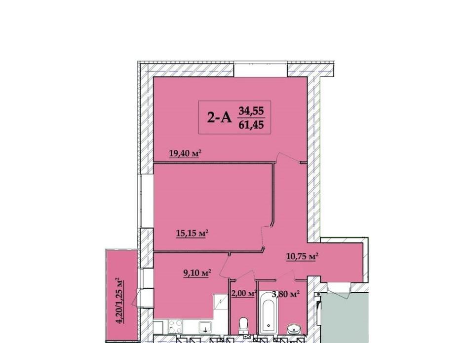 Планировка 2-комнатной квартиры в ЖК Академ городок 61.45 м², фото 257836