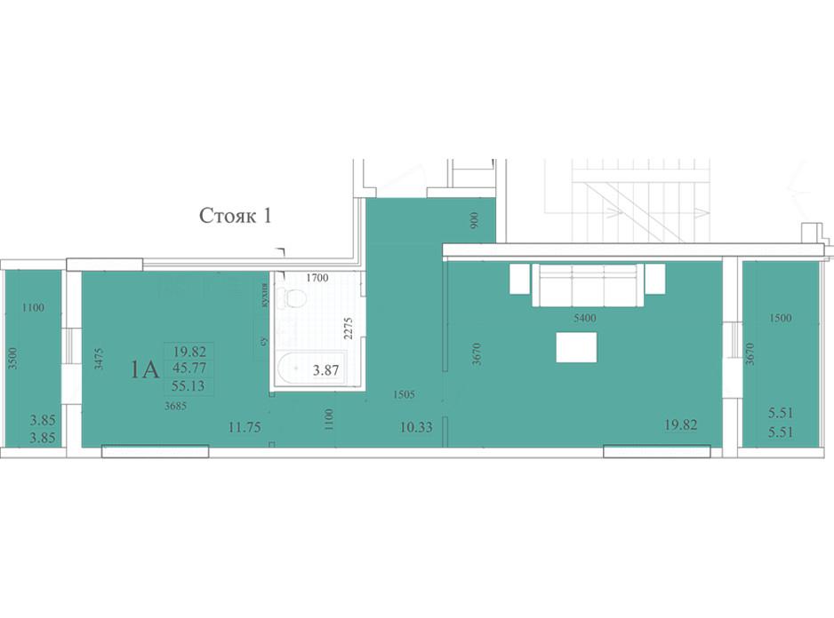 Планування 2-кімнатної квартири в ЖК Акварель 2 55.13 м², фото 258048