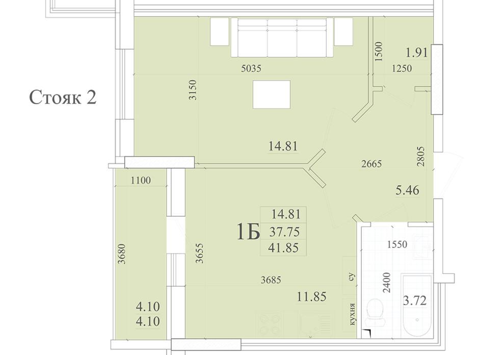 Планировка 1-комнатной квартиры в ЖК Акварель 2 41.85 м², фото 258049
