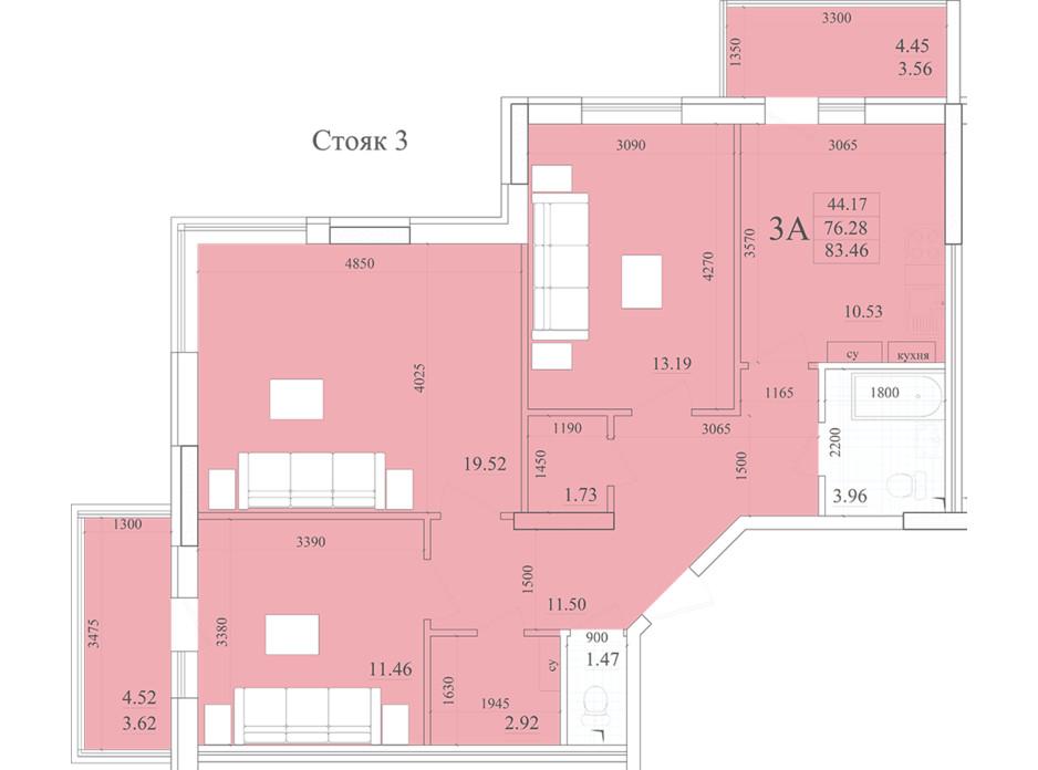 Планировка 3-комнатной квартиры в ЖК Акварель 2 83.46 м², фото 258051