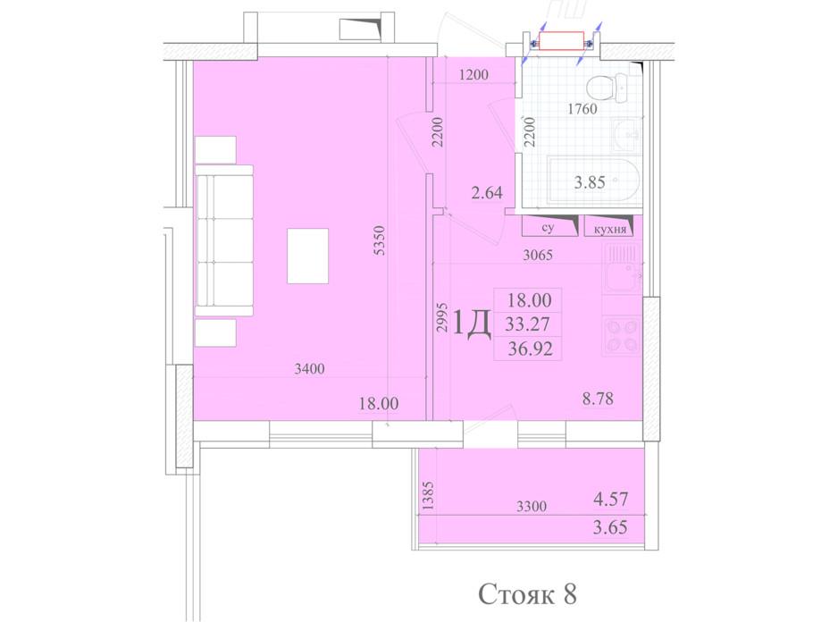 Планування 1-кімнатної квартири в ЖК Акварель 2 36.92 м², фото 258052