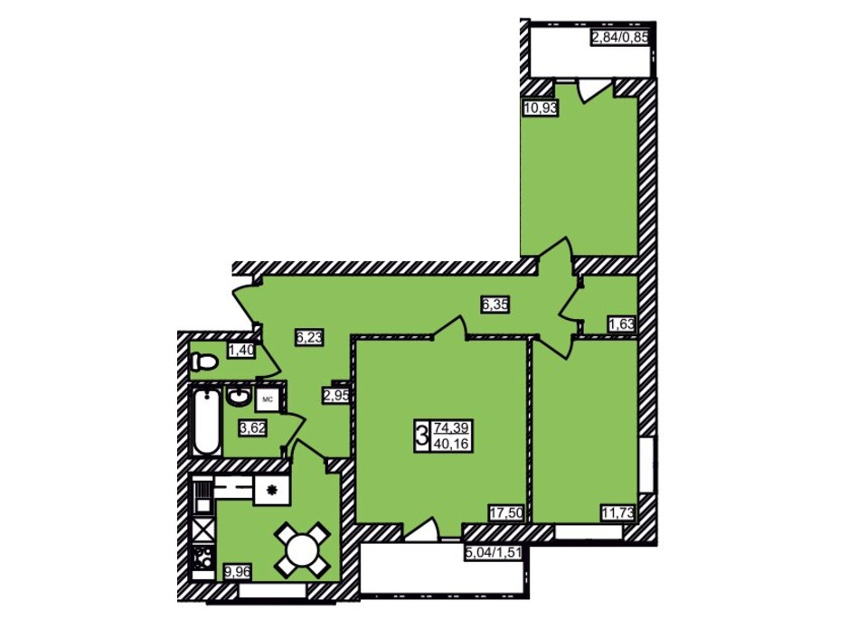 Планировка 3-комнатной квартиры в ЖК Maiborsky 74.39 м², фото 258193
