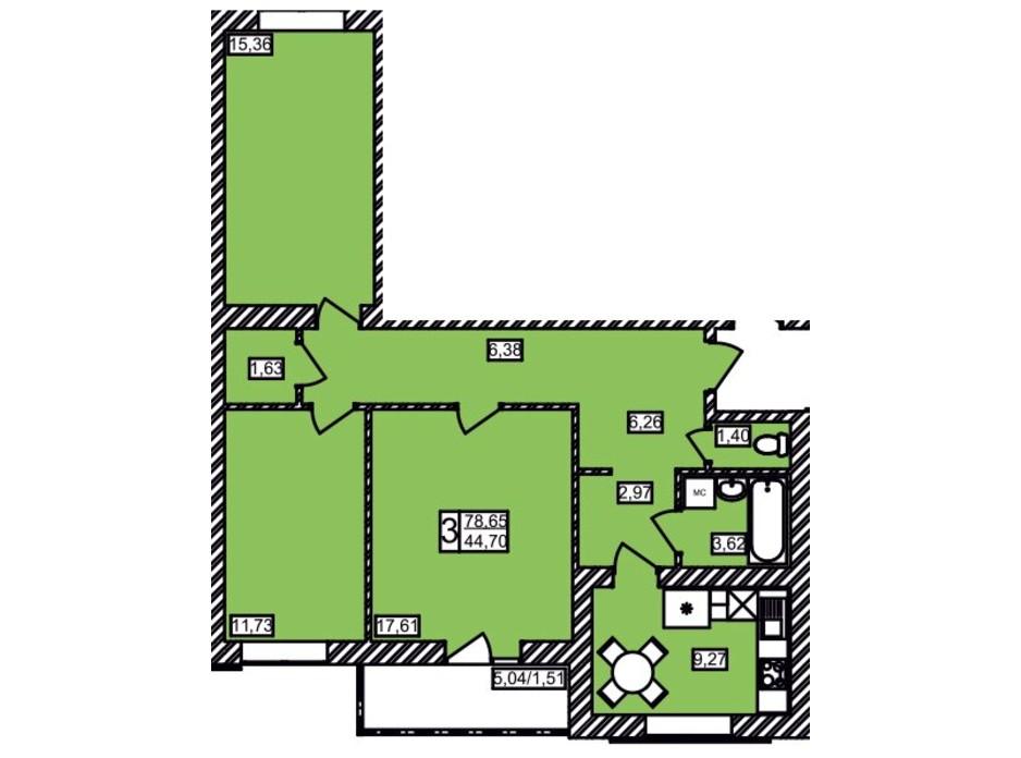 Планировка 3-комнатной квартиры в ЖК Maiborsky 78.65 м², фото 258195