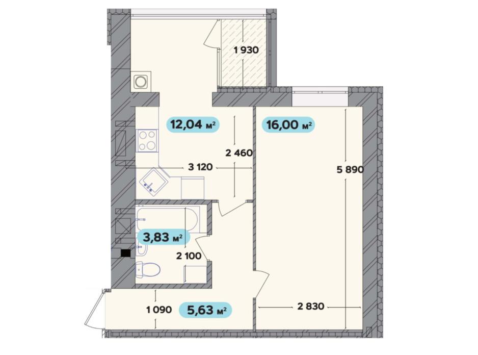 Планировка 1-комнатной квартиры в ЖК Spring Town New Rivier (Спринг Таун Нью Ривьера) 37.5 м², фото 258704