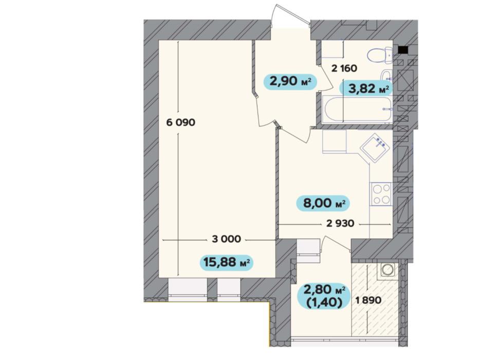 Планировка 1-комнатной квартиры в ЖК Spring Town New Rivier (Спринг Таун Нью Ривьера) 32 м², фото 258709