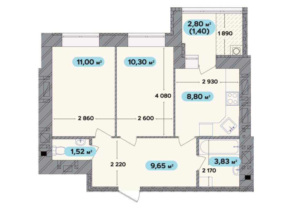 Планування 2-кімнатної квартири в ЖК Spring Town New Rivier (Спрінг Таун Нью Рів'єра) 46.5 м², фото 258711