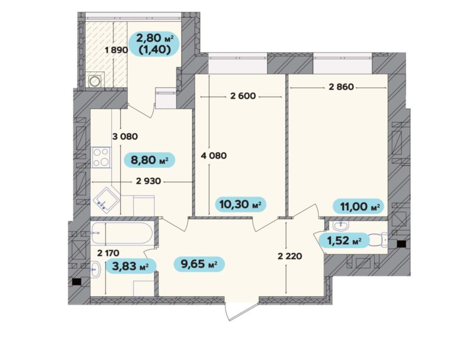 Планування 2-кімнатної квартири в ЖК Spring Town New Rivier (Спрінг Таун Нью Рів'єра) 46.5 м², фото 258712