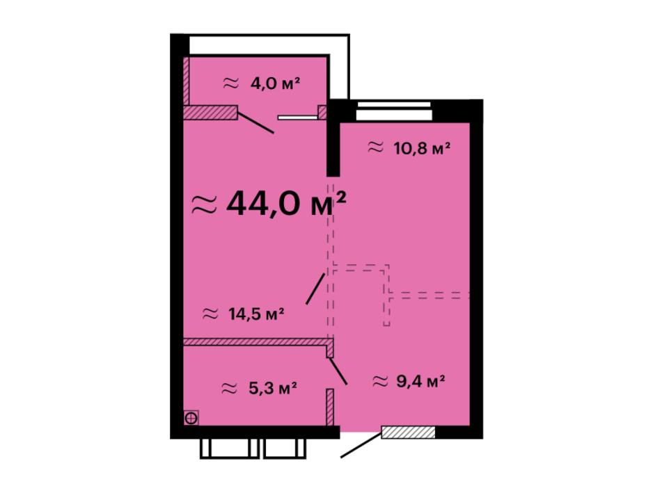 Планування 1-кімнатної квартири в ЖК Скай Сіті Плюс 44 м², фото 259305