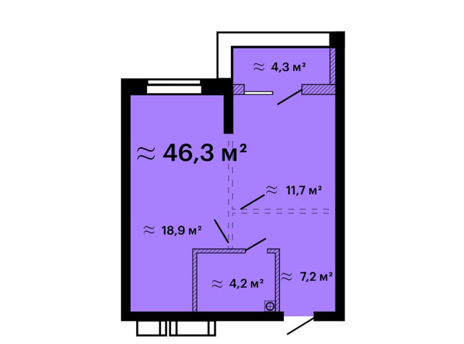 Планування 1-кімнатної квартири в ЖК Скай Сіті Плюс 46.3 м², фото 259306