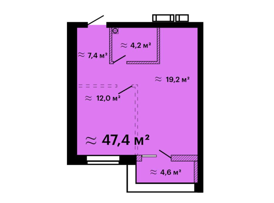 Планування 1-кімнатної квартири в ЖК Скай Сіті Плюс 47.4 м², фото 259308