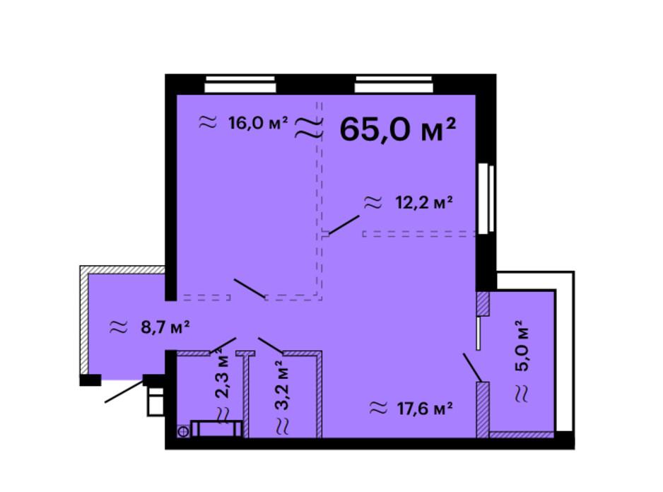 Планування 2-кімнатної квартири в ЖК Скай Сіті Плюс 65 м², фото 259309