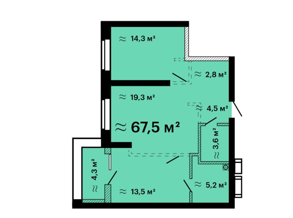 Планування 2-кімнатної квартири в ЖК Скай Сіті Плюс 67.5 м², фото 259311
