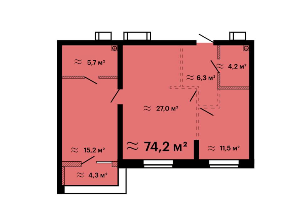 Планування 2-кімнатної квартири в ЖК Скай Сіті Плюс 74.2 м², фото 259313