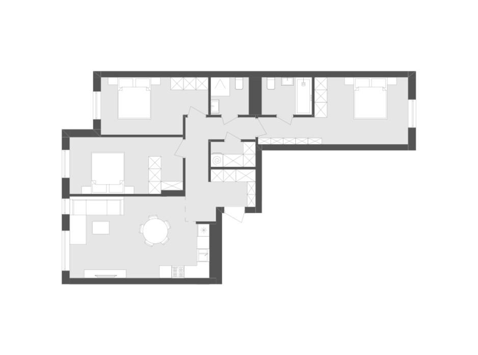Планировка 3-комнатной квартиры в ЖК Avalon Holiday 92.48 м², фото 259492
