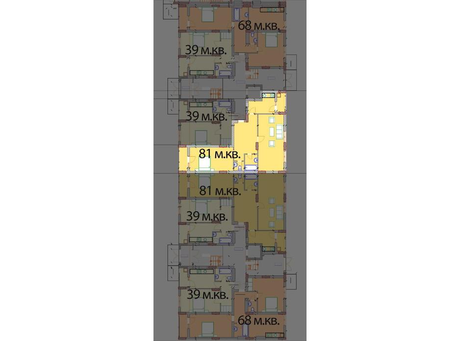 Планировка 2-комнатной квартиры в ЖК Европейский Квартал 81 м², фото 259576