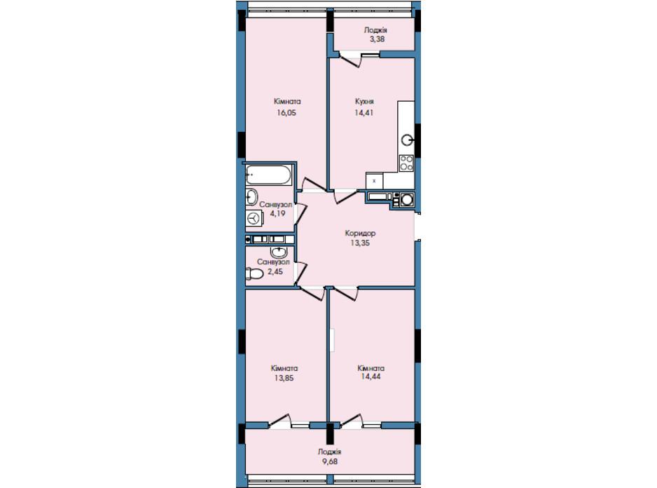 Планування 3-кімнатної квартири в ЖК Washington City 91.8 м², фото 259824