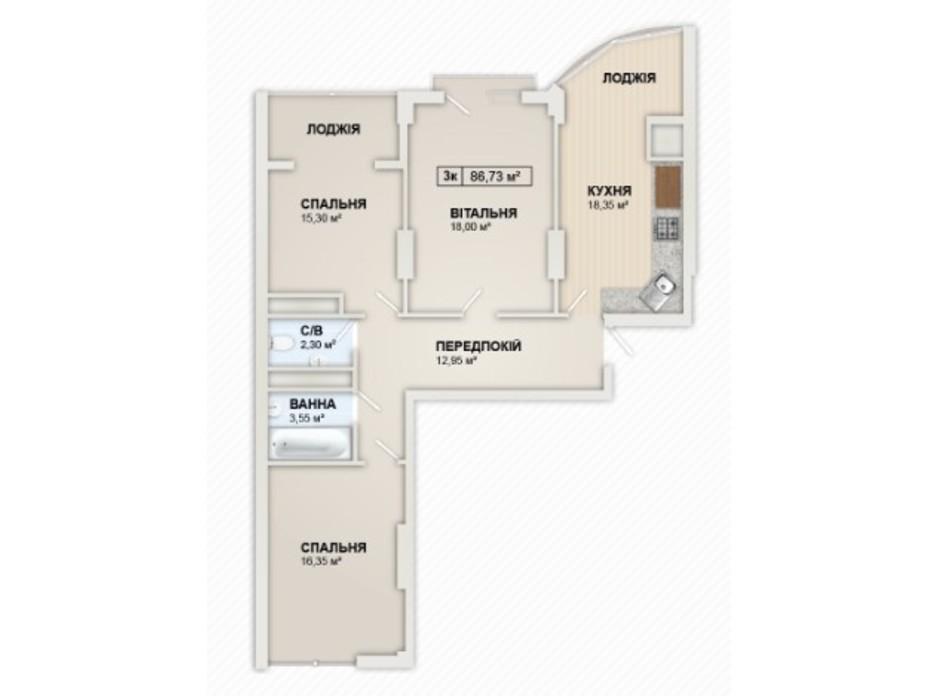 Планировка 3-комнатной квартиры в ЖК Lystopad 86.73 м², фото 259927